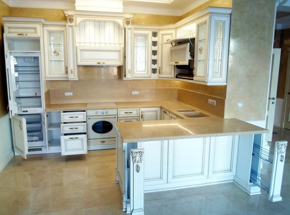 Белый кухонный гарнитур-Кухня из массива «Модель 152»-фото3