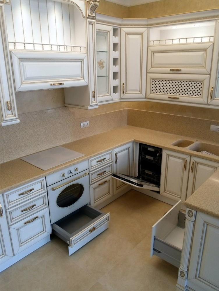 Белый кухонный гарнитур-Кухня из массива «Модель 152»-фото4