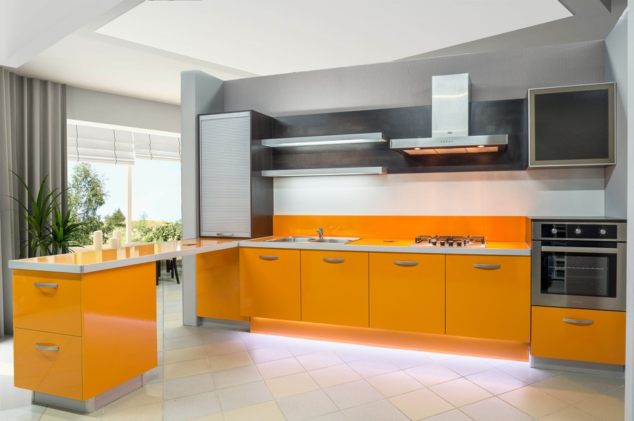 Белый кухонный гарнитур-Кухня МДФ в ПВХ «Модель 44»-фото1
