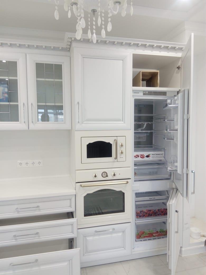 Белый кухонный гарнитур-Кухня МДФ в ПВХ «Модель 34»-фото2