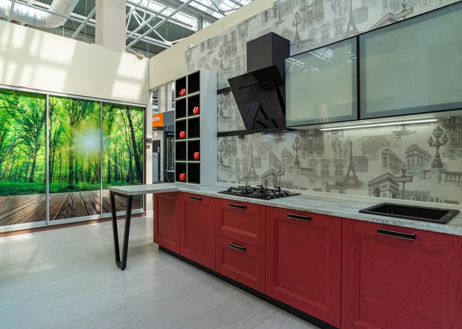 Белый кухонный гарнитур-Кухня МДФ в ПВХ «Модель 51»-фото1