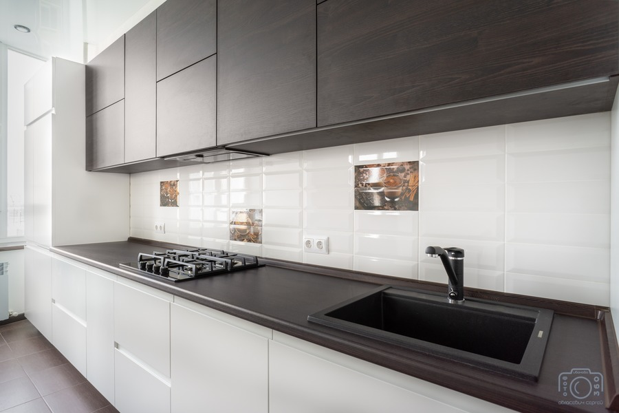 Белый кухонный гарнитур-Кухня МДФ в эмали «Модель 6»-фото4