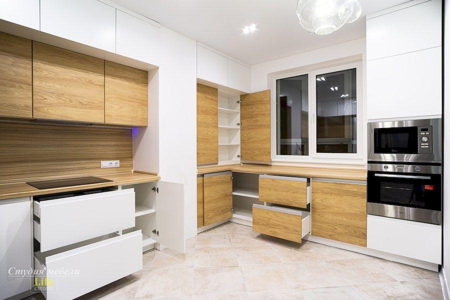 Белый кухонный гарнитур-Кухня МДФ в эмали «Модель 556»-фото5